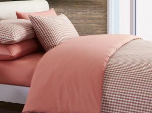 【新品】慢漫家纺 全棉格纹四件套 纯棉床笠式床单式 床上用品,床品,
