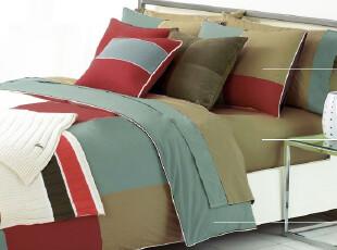 Rozene羅吉尼-1000TC埃及棉贡缎纯色拼色床品四件套-红蓝,床品,