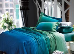 异国浪漫床上用品床单四件套斜纹全棉贡缎套件在人间-绿 特价包邮,床品,