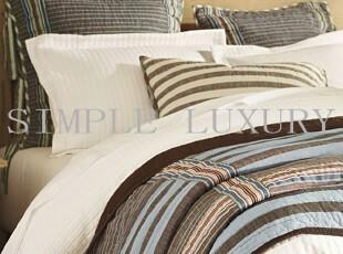 简单的奢华美国代购包邮 维拉穆拉纯棉缝制条纹拼布空调被绗缝被,床品,