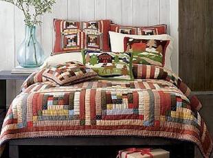 流光溢彩~掌柜的最爱的小木屋手工绗缝被三件套、空调被、夏凉被,床品,