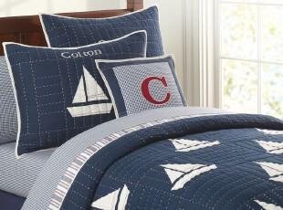 PBK~小帆船*贴布绣手工绗缝被三件套、空调被,床品,