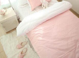 【韩国床品-可定做】甜美粉色波点 床品套件*被套床裙等,床品,