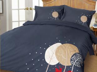 美宜天然原单品质外贸出口 全棉贡缎个性床上用品绣花四件套 雪夜,床品,