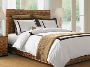 Rozene羅吉尼-1000TC埃及棉贡缎纯色拼色床品四件套-白棕条,床品,