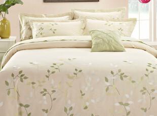 堂皇家纺 全棉斜纹刺绣四件套 高档绣花工艺床单式床上用品 绿野,床品,