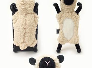 苹果立体小绵羊 iphone4S4 保护外套 手机壳 可爱支架 毛毛山羊,手机壳,
