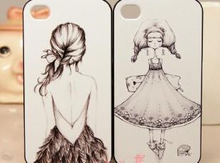 苹果4s壳 垂目女孩 彩绘防刮花 新款 硬壳 iphone壳 苹果4保护壳,手机壳,