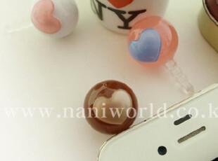 韩国进口 A.Z.超嗲果冻色 爱心圆球iphone4/4S防尘塞,手机壳,