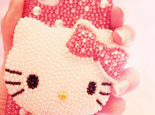 ♥超嗲珍珠水钻 BlingBling满钻Iphone4手机壳♥,手机壳,