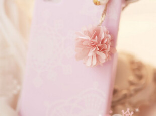 韩国进口 雪纺花朵珍珠钻钻iphone防尘塞,手机壳,