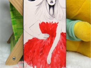 iphone4 4s 超薄彩绘 时尚 红裙女郎 情侣款 手机壳 保护壳,手机壳,
