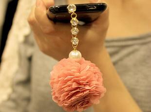 【C独家】韩国iphone4s 珍珠水钻链 雪纺花球 通用耳机防尘塞 Z02,手机壳,