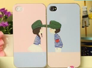情侣款撞色 带帽男孩女孩 iphone 44s  手机壳 苹果4代保护壳,手机壳,