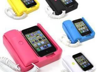 包邮 耳机 Phone iphone 4 4S 座机 复古电话手机座 听筒 防辐射,手机壳,