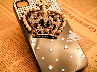 iphone4 4S 手机壳 水钻 钻壳 皇冠外壳 diy 苹果4手机壳子保护套,手机壳,