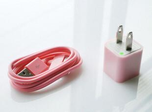 苹果iPhone 4/4S/3GS/iTouch 粉色充电器+粉色数据线 两件套,手机壳,