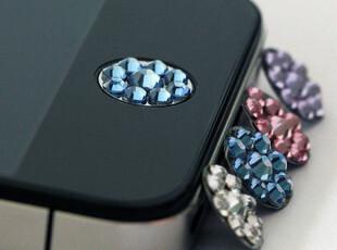 新款苹果4代iPhone4s ipad3 ipad2 水钻可爱 home按键贴手机配件,手机壳,