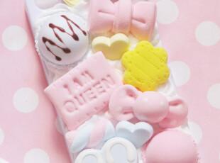 仿真奶油 蝴蝶结冰淇淋马卡龙蛋糕 DIY iphone4 苹果4S手机壳,手机壳,