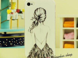 新款彩绘华丽的背影 美女iphone 4/4s手机壳 磨砂手机壳 苹果外壳,手机壳,