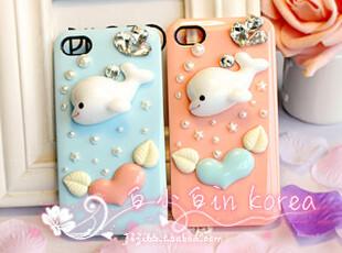 原创 海豚天使心水钻苹果iPhone4手机壳iphone4s手机套保护套外壳,手机壳,