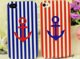 海军风 条纹控 iphone4 4S手机壳 苹果4代磨砂保护壳 情侣壳|,手机壳,