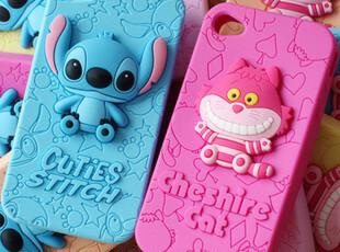 iphone44s 3D立体 史迪仔 妙妙猫 情侣手机壳 硅胶壳 保护壳,手机壳,