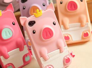 韩国PORORO皇冠小猪iphone 4卡通外壳 iphone4S手机壳硅胶保护套,手机壳,