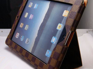 苹果 L_V 皮套 ipad3 ipad2带支架格子带休眠保护套 超薄皮套,手机壳,