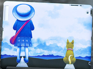 苹果 ipad3代 卡通漫画磨砂彩绘保护壳 ipad2代smart cover保护套,手机壳,
