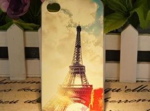 苹果4S手机壳蓝天白云巴黎铁塔清新复古风iphone4S彩绘手机保护壳,手机壳,