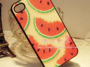可爱西瓜苹果4S保护壳iphone4s手感贴皮壳TPU彩壳保护套清凉一夏,手机壳,