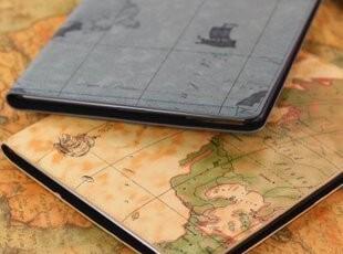 包邮 时尚 new iPad2 ipad3 个性地图保护套 休眠支架皮套,手机壳,