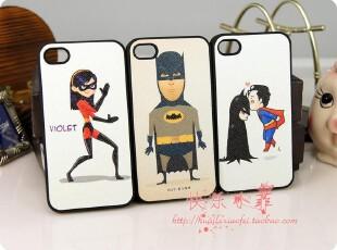 iphone4壳 iphone4s 蝙蝠侠 超人 手感贴皮 潮男 手机壳 保护壳,手机壳,