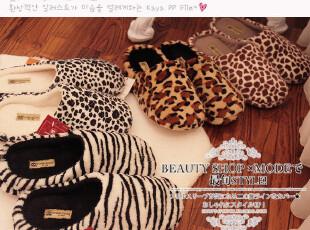 ♥出口韩国 小豹纹&奶牛纹&斑马纹毛绒平地拖鞋/家居鞋 4色PH,拖鞋,