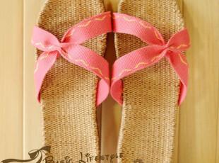日单外贸亚麻拖鞋 居家原单夏季厚底地板拖鞋 创意情侣家居凉拖鞋,拖鞋,