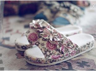 英伦碎花风格透气按摩底板女式家居拖鞋 女盆底春秋卧室地板鞋,拖鞋,