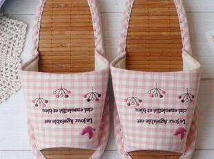 出口日本原单 夏季 竹席拖鞋 刺绣 布艺 居家家居拖鞋 凉爽防臭,拖鞋,