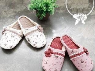 【韩国进口家居】R075 漂亮精致花边小花朵居家拖鞋 两色可选,拖鞋,
