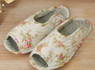 绿色碎花纯棉布艺拖鞋 家居鞋 地毯鞋 全棉家居拖鞋 女式地板鞋,拖鞋,