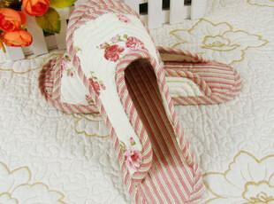 【田园生活】小碎花绗缝家居鞋 布拖鞋 休闲家居鞋 女生 JUXIE04,拖鞋,