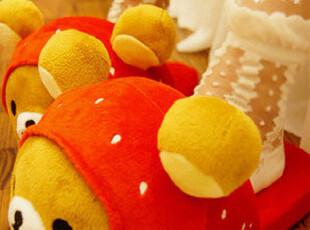 超可爱>< Rila*kuma小熊变身草莓大大头拖鞋 2色T13PH,拖鞋,