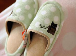 出口日本原单 波点小黑猫 居家棉拖鞋 地板拖鞋 2色选0.2KG,拖鞋,