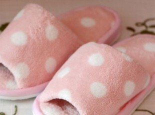 特价 嗲嗲可爱的冰淇淋系波点家居拖鞋 地板拖鞋 多色选,拖鞋,
