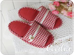 出口日本原单 zakka风全棉布艺 小格子家居拖鞋 2色可选 均码,拖鞋,