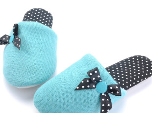 韩国订单-可爱蓝色针织复合防水底家居拖鞋 春秋拖 非常舒适 跟脚,拖鞋,