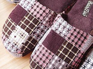 秋冬季格子纹男式拖鞋 保暖地板拖 灯芯绒面家居鞋 棉拖鞋 男士,拖鞋,