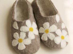 KUN.白色花朵 羊毛毡手工 室内鞋 家居鞋,拖鞋,