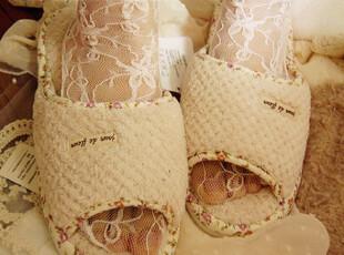 特 日系碎花包边温软菱格绒面拖鞋 2色♥,拖鞋,