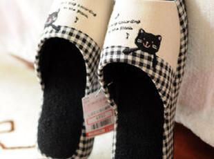 森女可爱卡通熊猫家居拖鞋 坡跟拖鞋 地板拖鞋 韩版拖鞋 礼物,拖鞋,